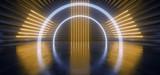 Fototapeta Do przedpokoju - Neon Laser Triangle Circle Arc Alien Spaceship Tunnel Corridor Background Pantone Blue Yellow Stage Podium Lights Glowing Concrete Grunge Reflective Cyber Modern Hallway 3D Rendering