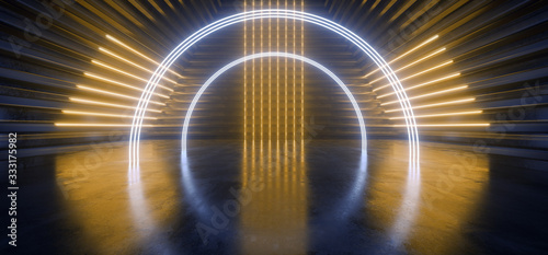 Neon Laser Triangle Circle Arc Alien Spaceship Tunnel Corridor Background Pantone Blue Yellow Stage Podium Lights Glowing Concrete Grunge Reflective Cyber Modern Hallway 3D Rendering