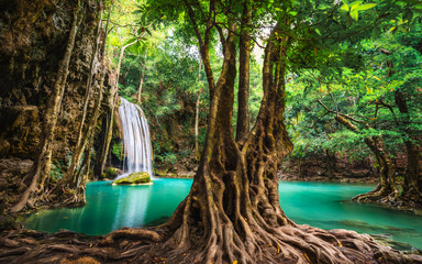 Fototapeta Eko Beautiful nature scenic landscape Erawan waterfall in deep tropical jungle rain forest, Attraction famous landmark tourist travel Kanchanaburi Thailand vacation trips, Tourism destinations place Asia