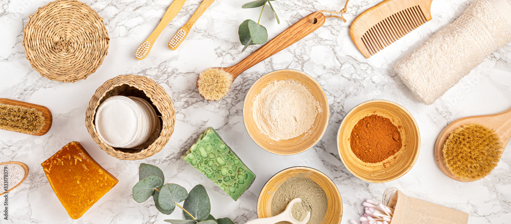 Fototapeta Homemade clay facial mask. Zero waste eco friendly diy beauty products ingredients on light background, flat lay