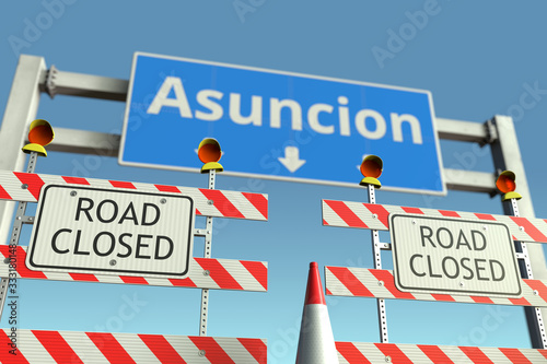 Photo Roadblocks near Asuncion city traffic sign