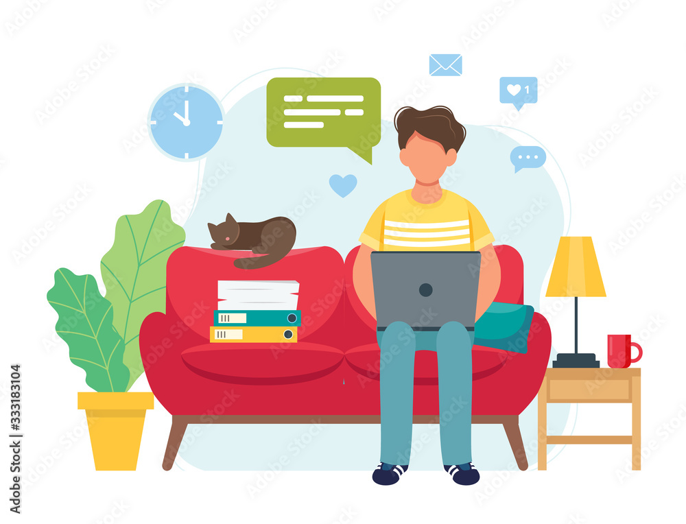 Fototapeta Home office concept, man working from home sitting on a sofa, student or freelancer. Cute vector illustration in flat style