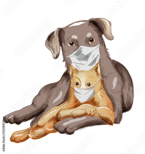 Dog and cat friends with disposable mask. Corona Virus among pets idea