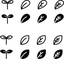 双葉や葉のアイコン/シンプル/イラスト/新芽