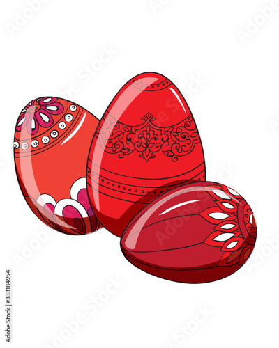 Set of red easter eggs with various ornaments. Vectors