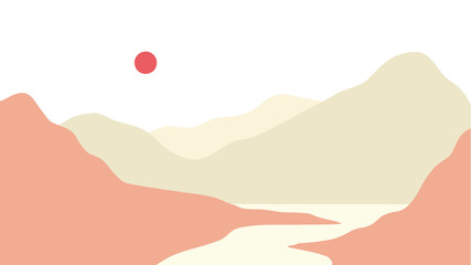 Minimal Landscape mountain and lake panoramic scenery vector illustration