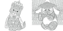 Coloring Pages. Cat In Crown And Panda Bear.