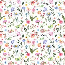 Watercolor Floral Seamless Pattern. Cute Botanical Print, Blooming Summer Meadow Illustration With Butterflies On White Background. Pastel Color Palette. Great For Nursery Design, Textile