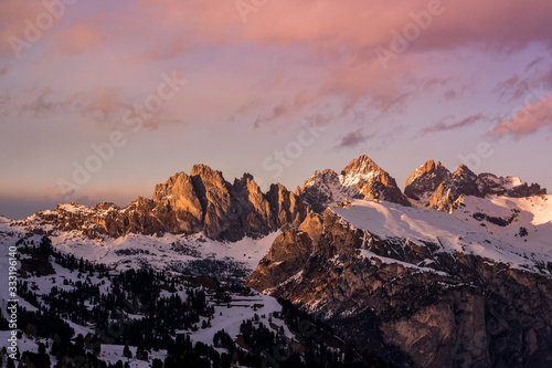 Sunset over Dolomiti Mountains in Italy Canvas Print
