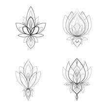 Set Of Four Ethnic Mandala Orn...