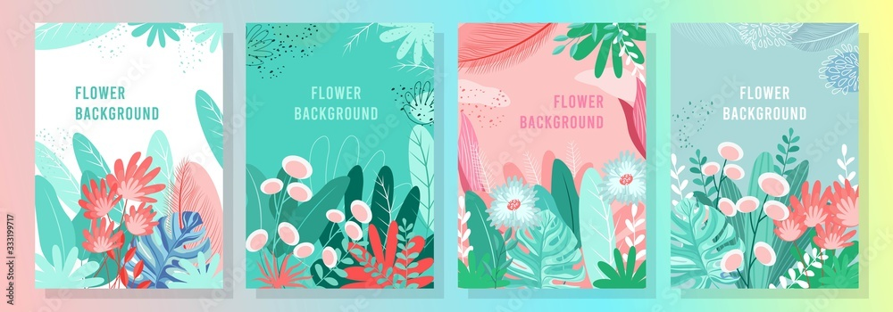 Fototapeta Vector set floral background, Nature background, banner, cover, templates, posters.