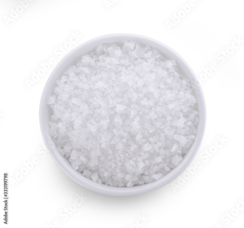 salt in white bowl isolated on white background Canvas