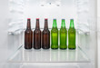 Green and brown glass beer bottles stand on a shelf in the refrigerator