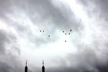 Birds Over Church, Poland