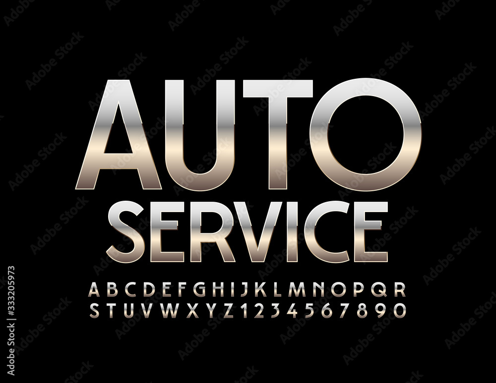 Fototapeta Vector metallic sign Auto Service. Silver modern Font. Reflective Alphabet Letters and Numbers