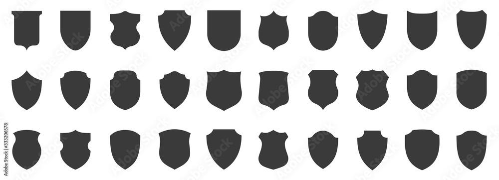 Fototapeta Set of shields. Protection. Vector graphics