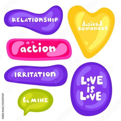 Speech bubbles about love and relationship Tapéta, Fotótapéta