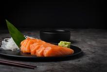 Slice Salmon / Sasimi On Dark Background Popular Japanese Food,fresh Salmon Sasimi Set In Japanese Restaurant.