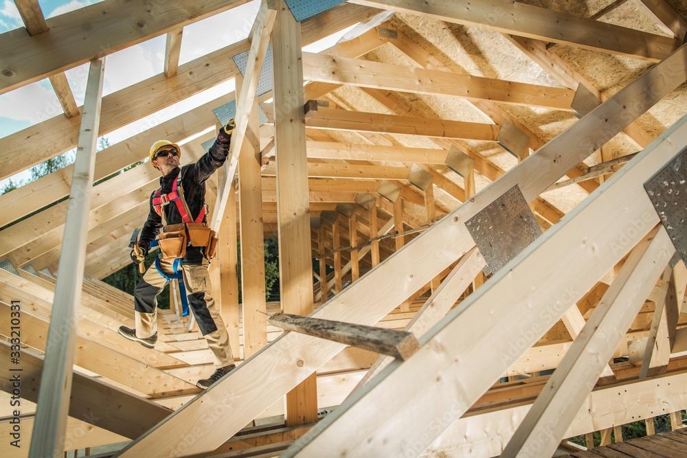 Fototapeta Building Wooden Roof Frame
