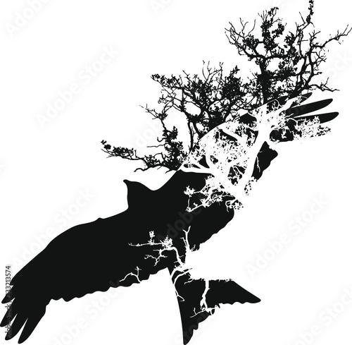 Vogel mit Baum Fototapete