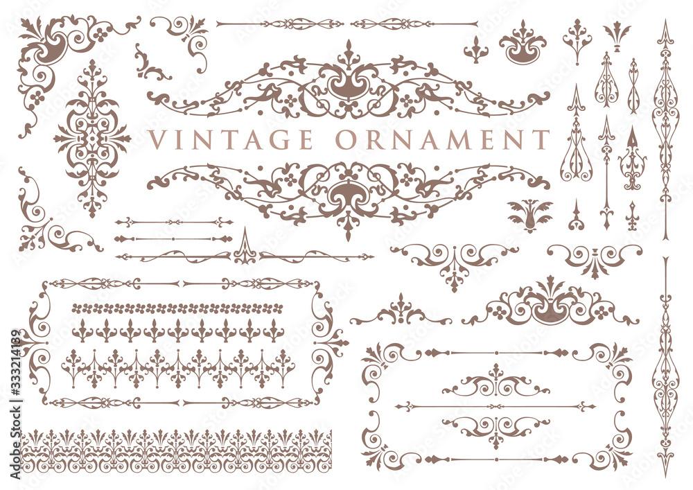 Fototapeta vintage ornament set. floral decorative frames and borders.