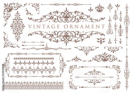 Obraz vintage ornament set. floral decorative frames and borders. - fototapety do salonu