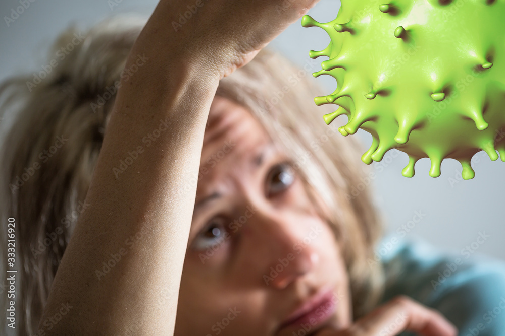 Fototapeta Coronavirus cell and patient woman in quarantine for COVID-19 on blurred background. Depression, stress, suicidal thoughts and psychological problems during isolation at home for of 2019-nCoV.