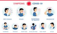 Coronavirus 2019-nCoV Symptoms: Cough, Fever, Shortness Of Breath (chest Pain), Tiredness, Headache, Diarrhea, Stuffy Runny Nose, Ache Of Muscle, Sore Throat, Nausea/vomiting. White Infographic Banner