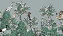 Seamless Border White Oleander...