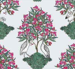 Fototapeta Drzewa Seamless Pattern Indian Heron under the Oleander Blooming Tree in Chess Order