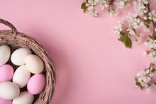 Easter Eggs In Willow Basket With Branch Of Cherry Blossom On Pink Background
