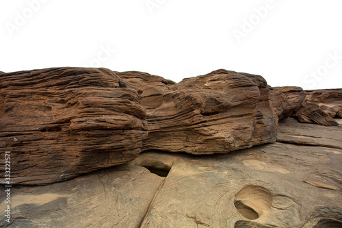 Huge stone mountain isolated on white background Wallpaper Mural