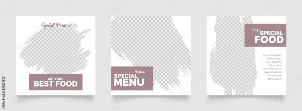 Fototapeta social media instagram post template for food promotion simple banner frame