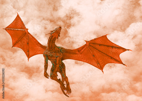 Fotografija red hell dragon passing by on hot land bottom view