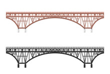 Isolated Bridge. Black Silhouette And Colorfull Image Of Railroad. Railway Structure. Architectural Structure For Trains And Cars