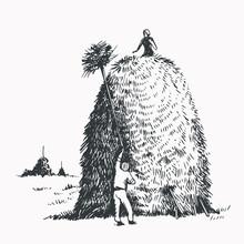 Haystack, Hay, Grass, Illustration In Vintage Style
