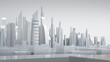 White city with wire frame, abstract city, future city. 3D rendering