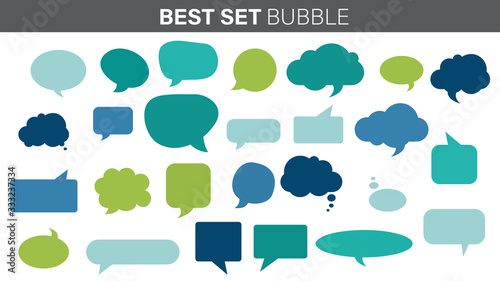 Fototapety, obrazy: Text bubbles, vector illustrations. Set of bubble templates for text messages with different shapes.