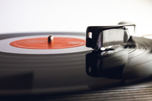 Close Up Of Vinyl Record Player On A White Background. Shallow Depth Of Field, Focus Select.