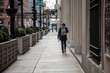Chicago,IL/USA-March 24th 2020: Streets of downtown Chicago around State street and Michigan ave are completely isolated, desolated, empty  due the national health pandemic Covid-19