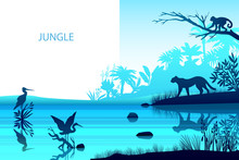 Vector Rainforest Background With Stork, Leopard, River, Monkey Palm Trees. Ecological Tropical Banner With Exotic Flora And Fauna. Horizontal Jungle Landscape In Trendy Blue Color With Copy Space
