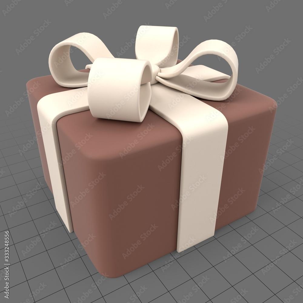 Fototapeta Gift box cake with fondant bow