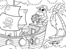 Coloring Book Sea Pirates On The Ship. The Captain Of The Ship At The Helm. Children Picture. Vector