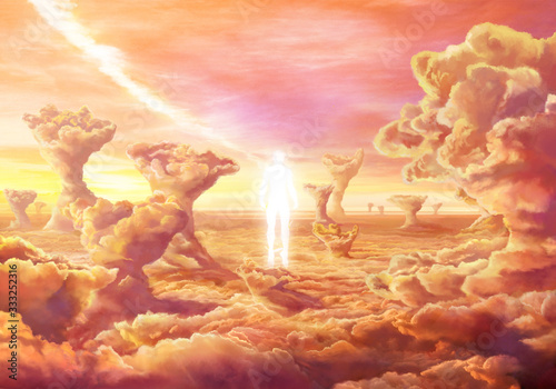 Photo Abstract 3d rendering illustration of a man ghost with rays of light emanating as a concept of psychology and religion