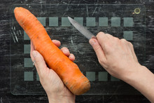 Top View Of Unpeeled Carrot In...