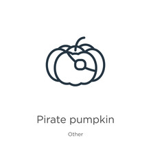 Pirate Pumpkin Icon. Thin Line...
