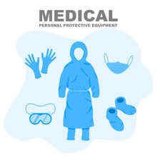 Medical Personal Protective Equipment, Medical Personnel Infection Prevention Kit Vector Illustration.