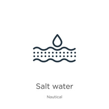 Salt Water Icon. Thin Linear S...