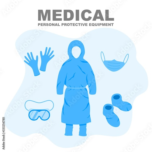 Fotomural Medical Personal Protective Equipment, medical personnel infection prevention kit vector illustration