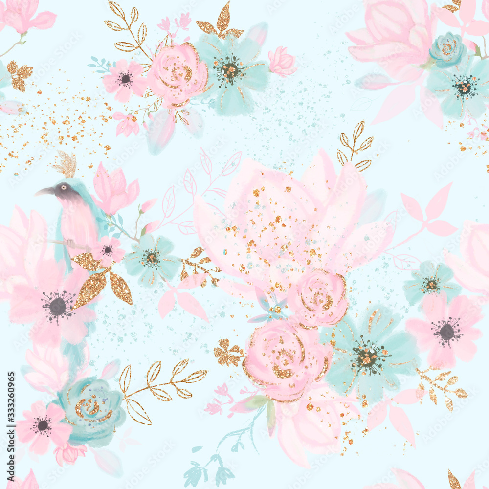 Floral seamless pattern with blue bird, pink flowes, gold leaves. Kids room wallpaper